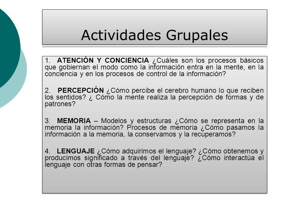 Actividades Grupales 1. ATENCIÓN Y CONCIENCIA ¿Cuáles son los procesos básicos que gobiernan el modo como la información entra en la mente, en la conc