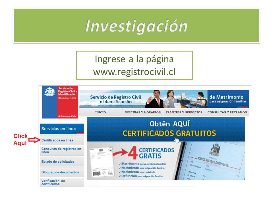 Ingrese a la página www.registrocivil.cl