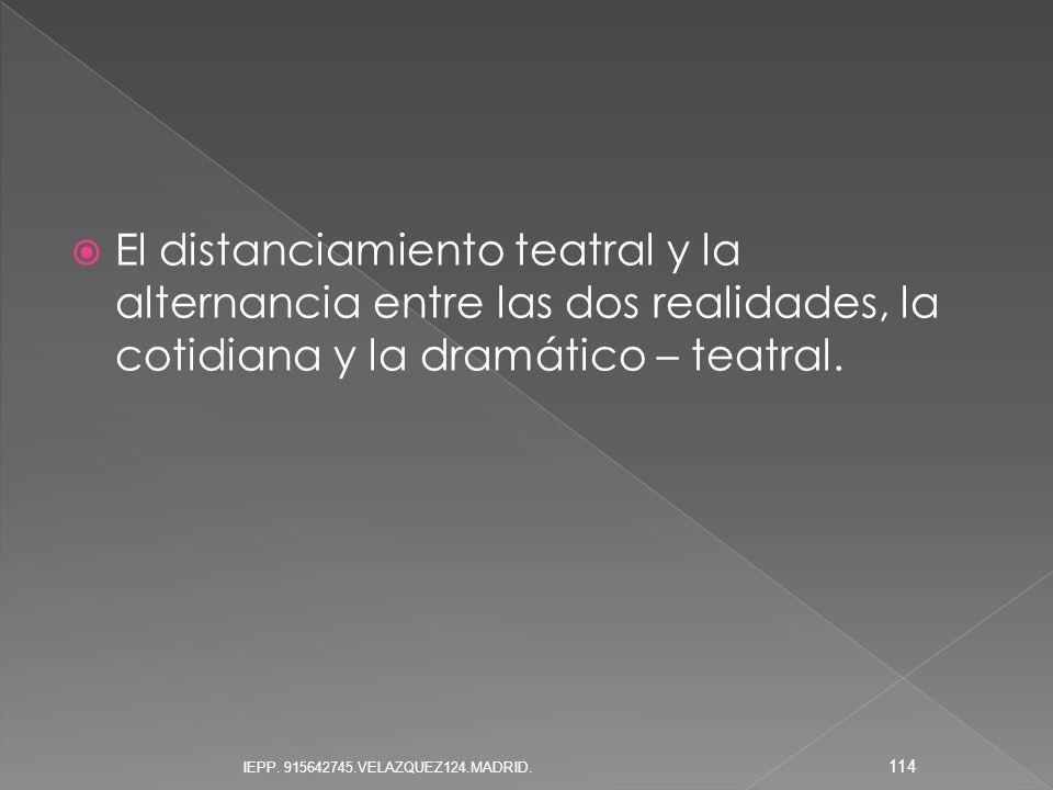 El distanciamiento teatral y la alternancia entre las dos realidades, la cotidiana y la dramático – teatral. 114 IEPP. 915642745.VELAZQUEZ124.MADRID.