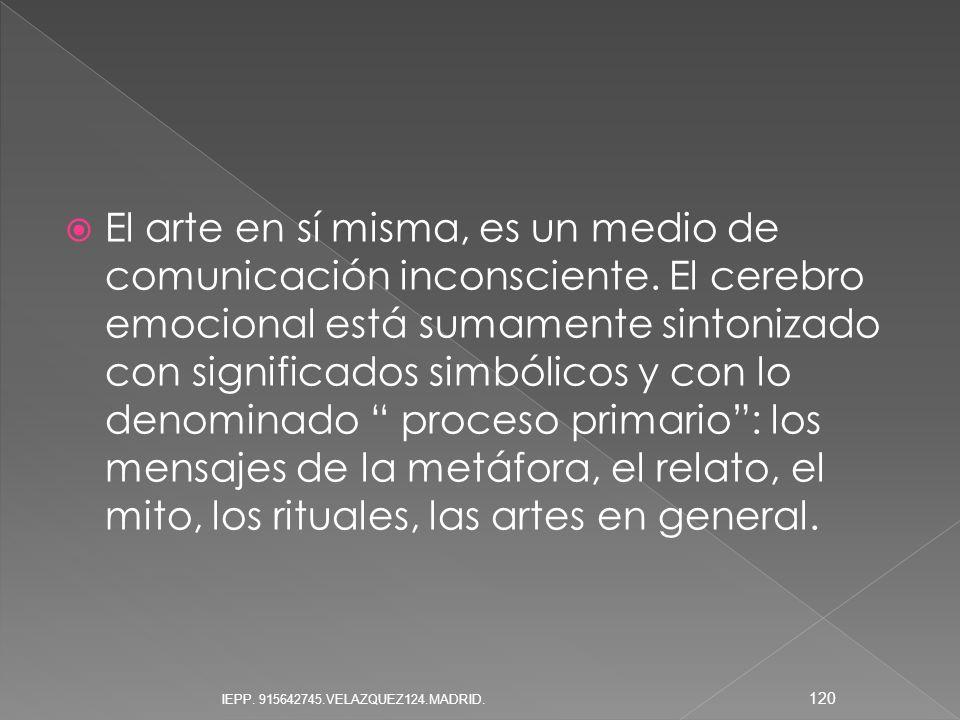 El arte en sí misma, es un medio de comunicación inconsciente. El cerebro emocional está sumamente sintonizado con significados simbólicos y con lo de
