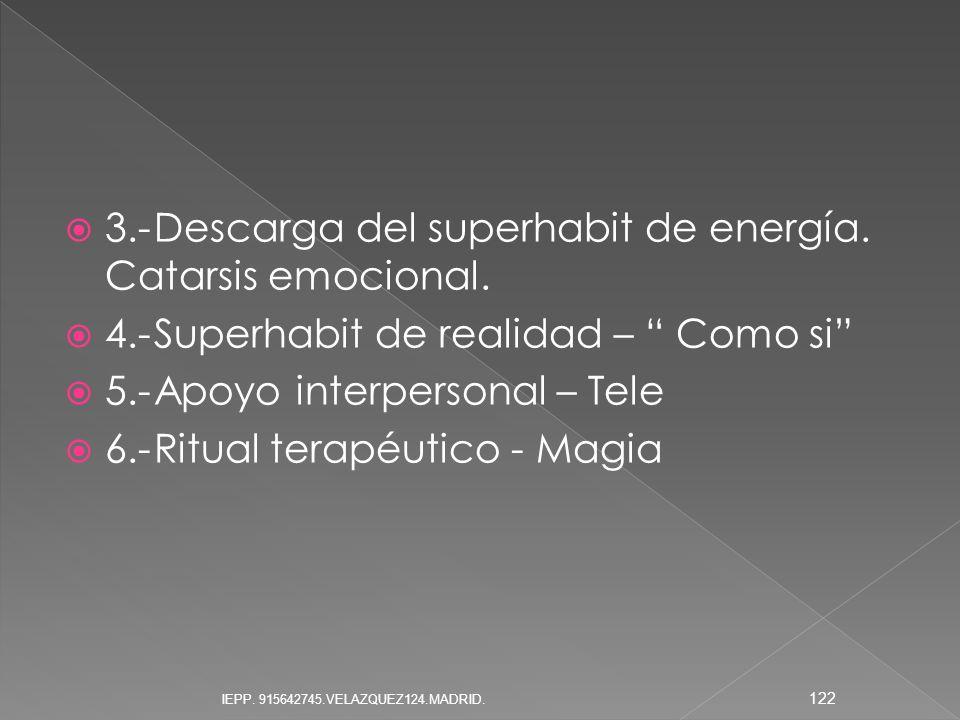 3.-Descarga del superhabit de energía. Catarsis emocional. 4.-Superhabit de realidad – Como si 5.-Apoyo interpersonal – Tele 6.-Ritual terapéutico - M