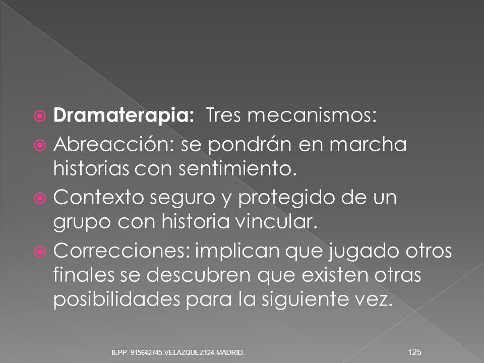 Dramaterapia: Tres mecanismos: Abreacción: se pondrán en marcha historias con sentimiento. Contexto seguro y protegido de un grupo con historia vincul