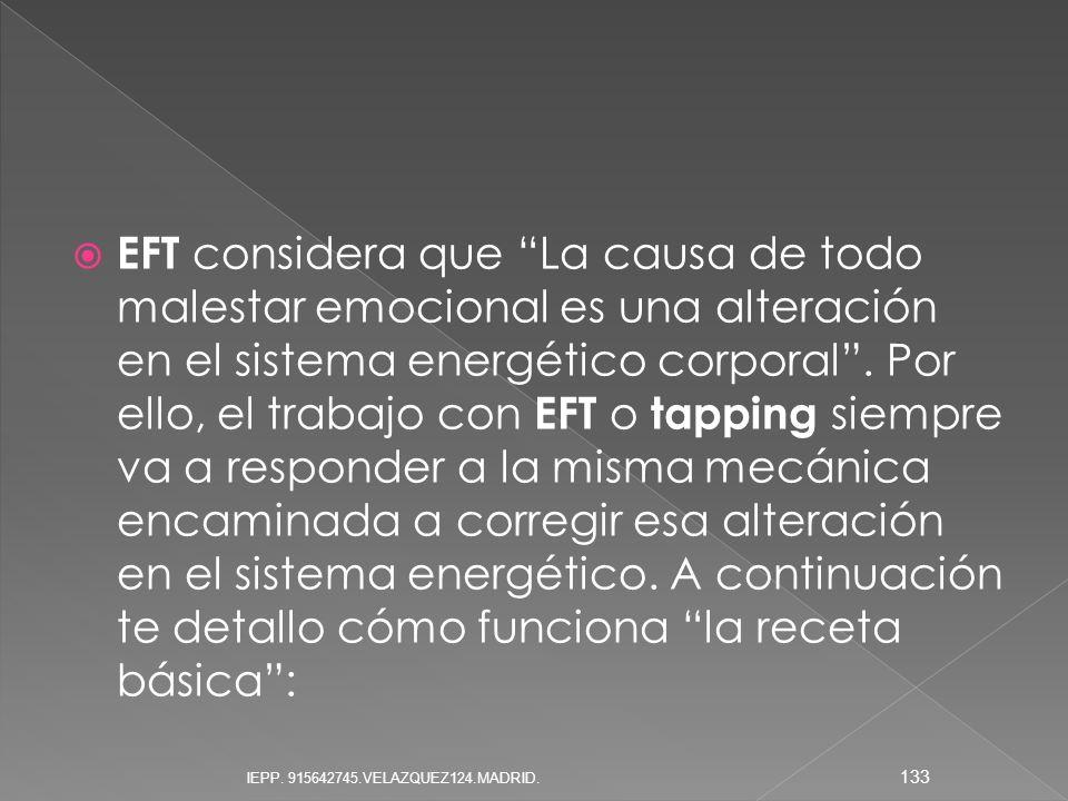 EFT considera que La causa de todo malestar emocional es una alteración en el sistema energético corporal. Por ello, el trabajo con EFT o tapping siem