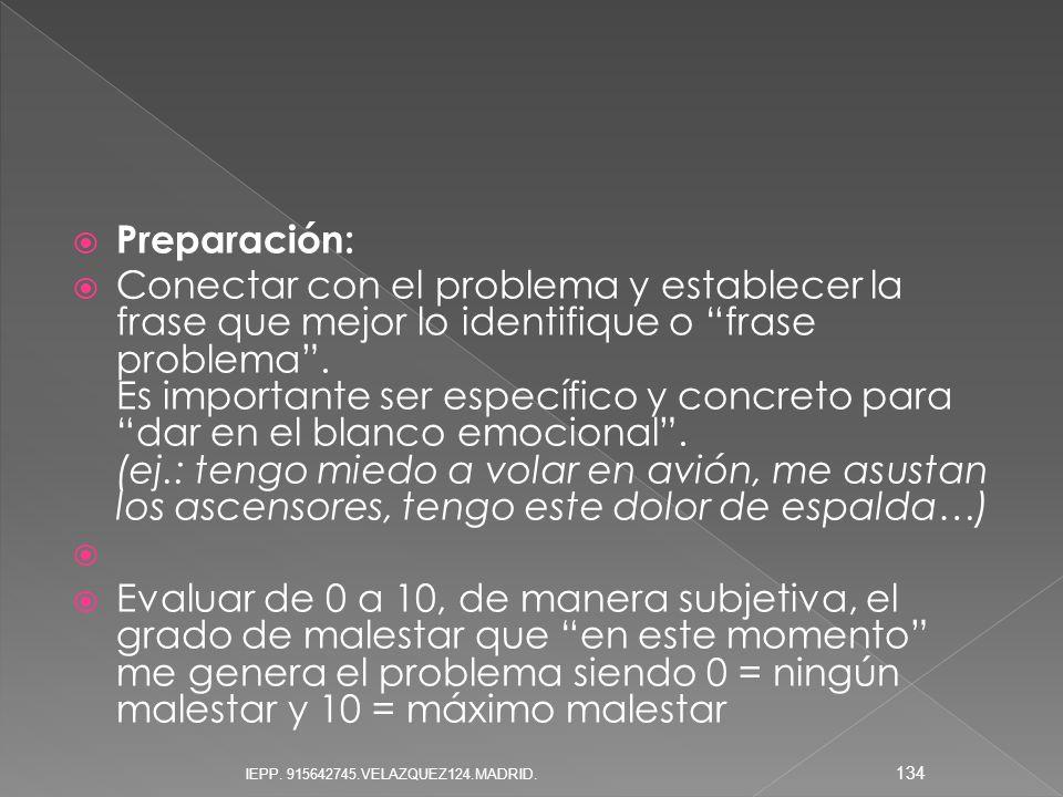 Preparación: Conectar con el problema y establecer la frase que mejor lo identifique o frase problema. Es importante ser específico y concreto para da
