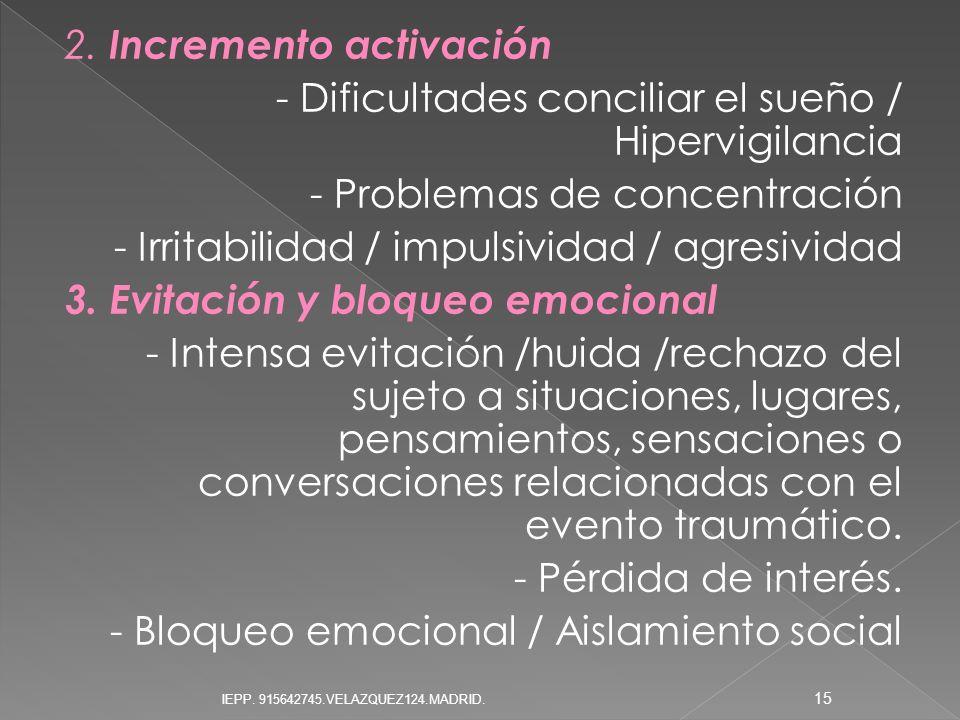 2. Incremento activación - Dificultades conciliar el sueño / Hipervigilancia - Problemas de concentración - Irritabilidad / impulsividad / agresividad