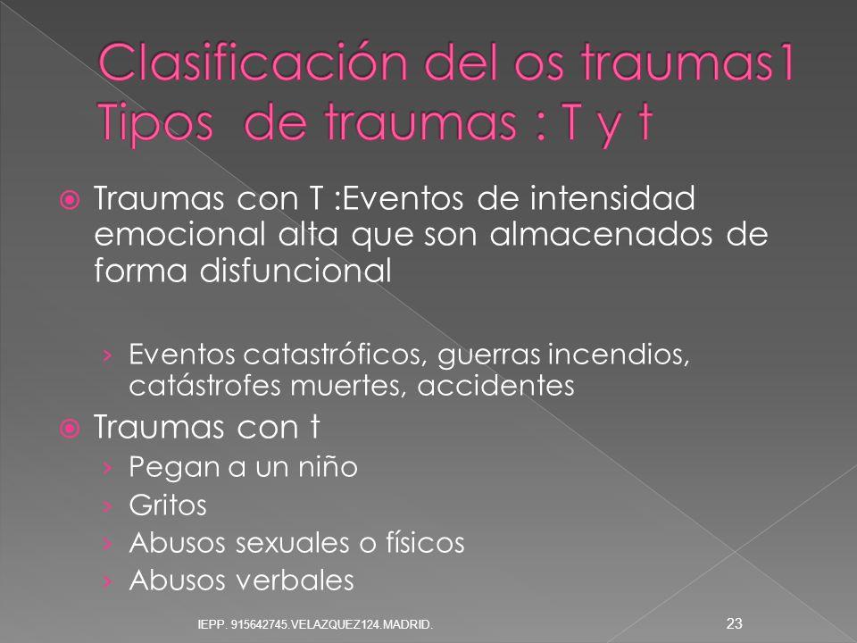Traumas con T :Eventos de intensidad emocional alta que son almacenados de forma disfuncional Eventos catastróficos, guerras incendios, catástrofes mu