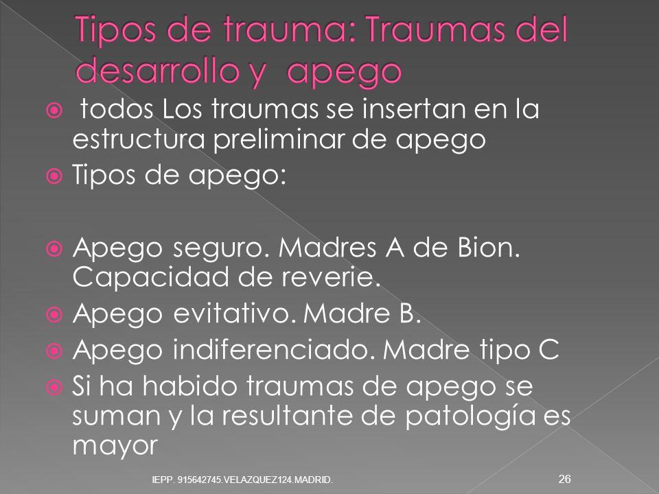 todos Los traumas se insertan en la estructura preliminar de apego Tipos de apego: Apego seguro. Madres A de Bion. Capacidad de reverie. Apego evitati