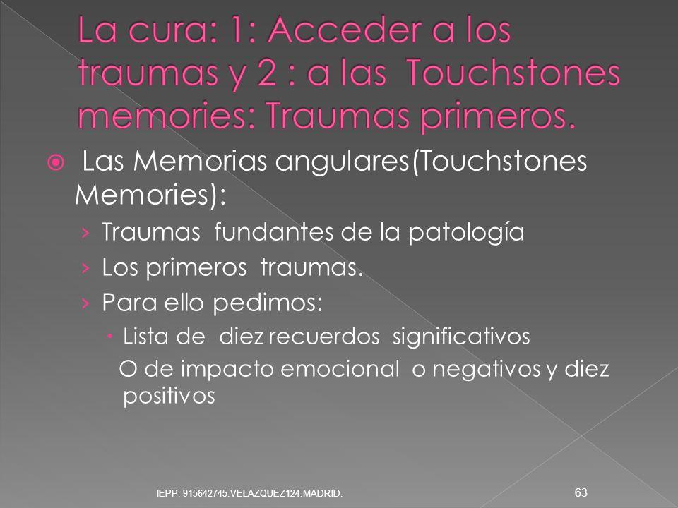Las Memorias angulares(Touchstones Memories): Traumas fundantes de la patología Los primeros traumas. Para ello pedimos: Lista de diez recuerdos signi