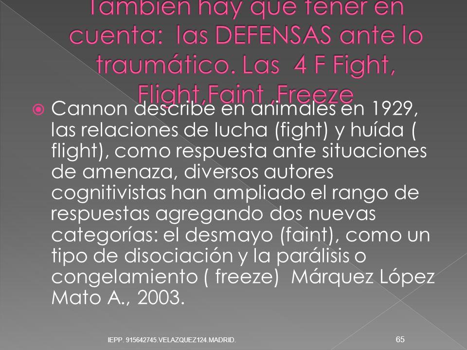 Cannon describe en animales en 1929, las relaciones de lucha (fight) y huída ( flight), como respuesta ante situaciones de amenaza, diversos autores c