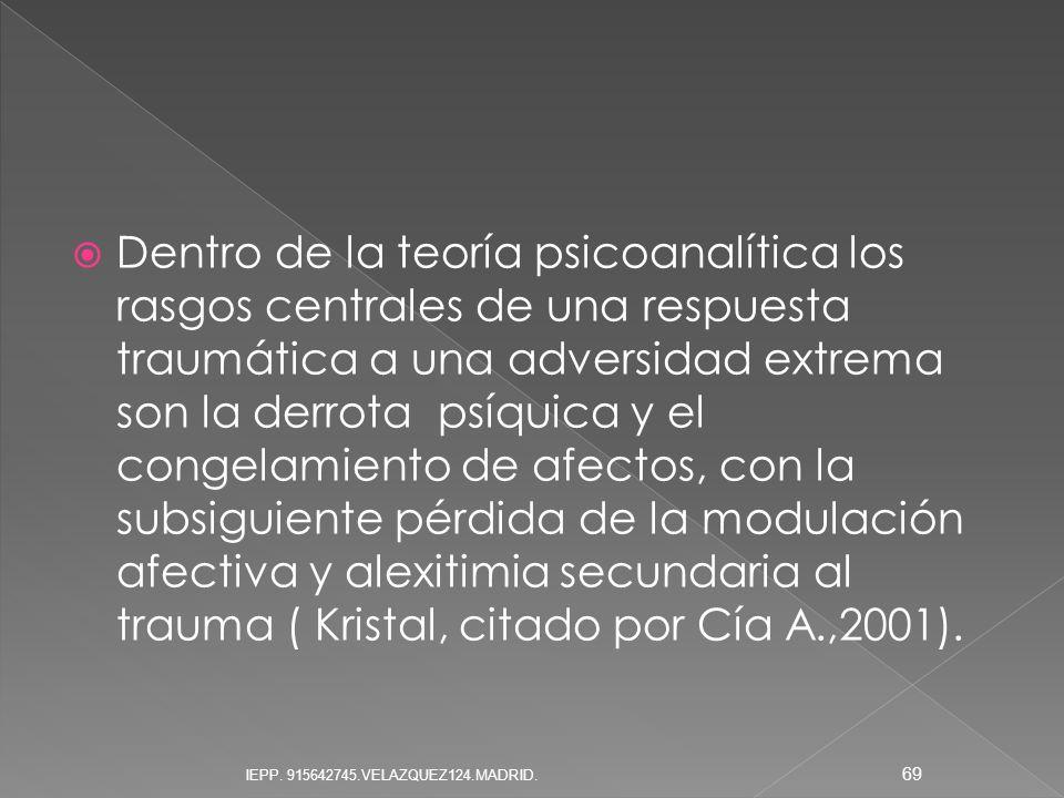 Dentro de la teoría psicoanalítica los rasgos centrales de una respuesta traumática a una adversidad extrema son la derrota psíquica y el congelamient