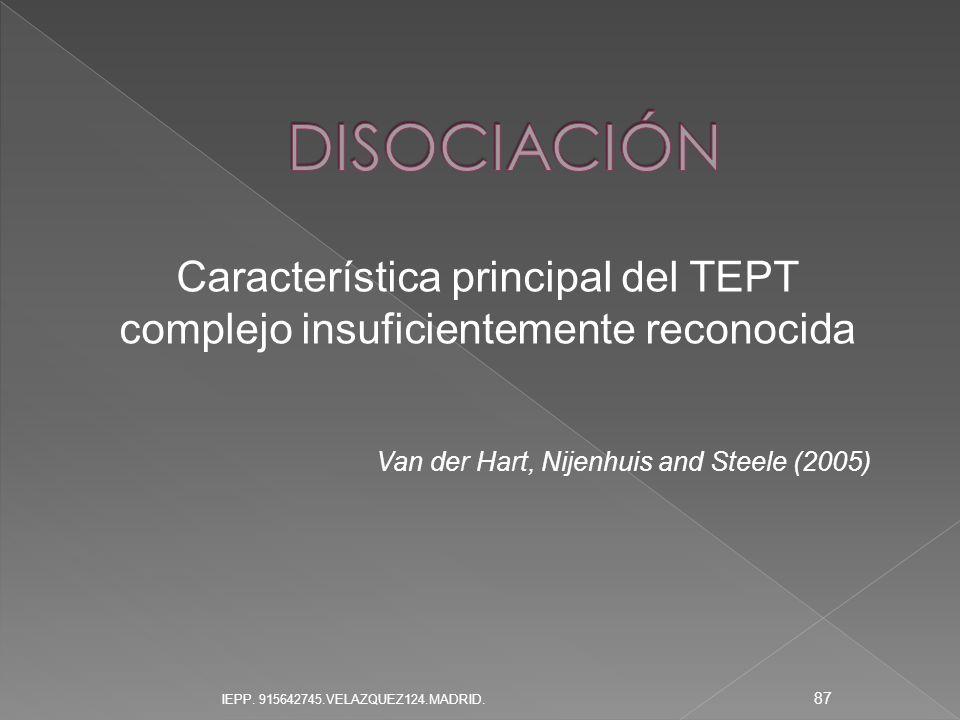 Característica principal del TEPT complejo insuficientemente reconocida Van der Hart, Nijenhuis and Steele (2005) 87 IEPP. 915642745.VELAZQUEZ124.MADR