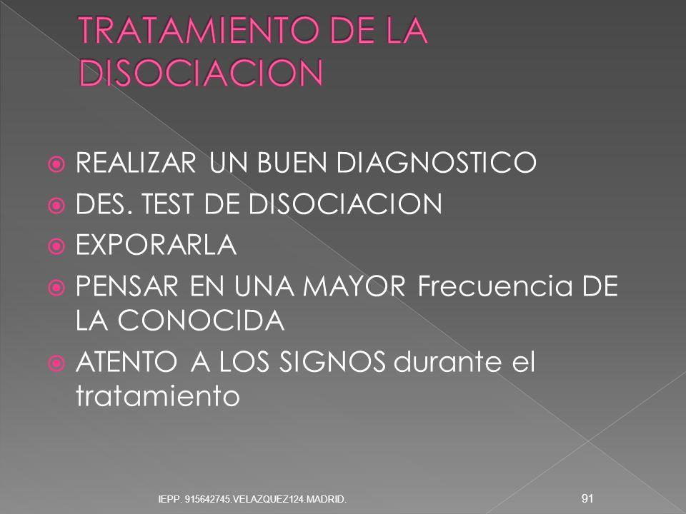REALIZAR UN BUEN DIAGNOSTICO DES. TEST DE DISOCIACION EXPORARLA PENSAR EN UNA MAYOR Frecuencia DE LA CONOCIDA ATENTO A LOS SIGNOS durante el tratamien