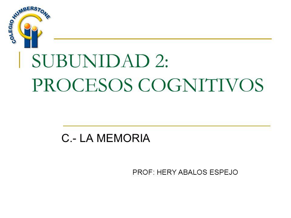 SUBUNIDAD 2: PROCESOS COGNITIVOS C.- LA MEMORIA PROF: HERY ABALOS ESPEJO