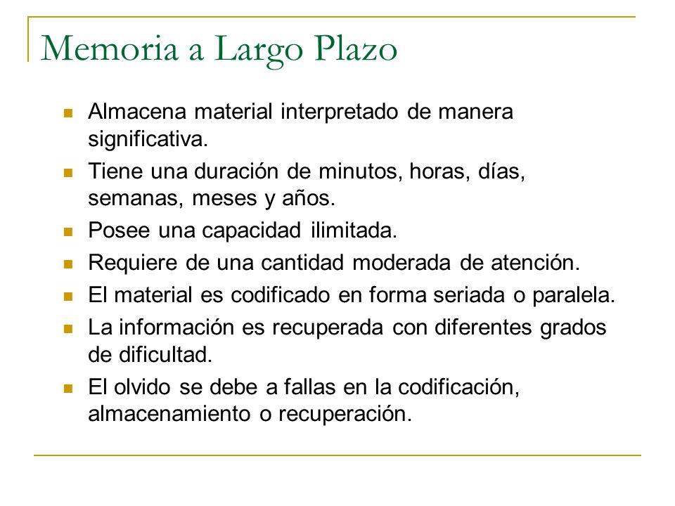 Memoria a Largo Plazo Almacena material interpretado de manera significativa. Tiene una duración de minutos, horas, días, semanas, meses y años. Posee