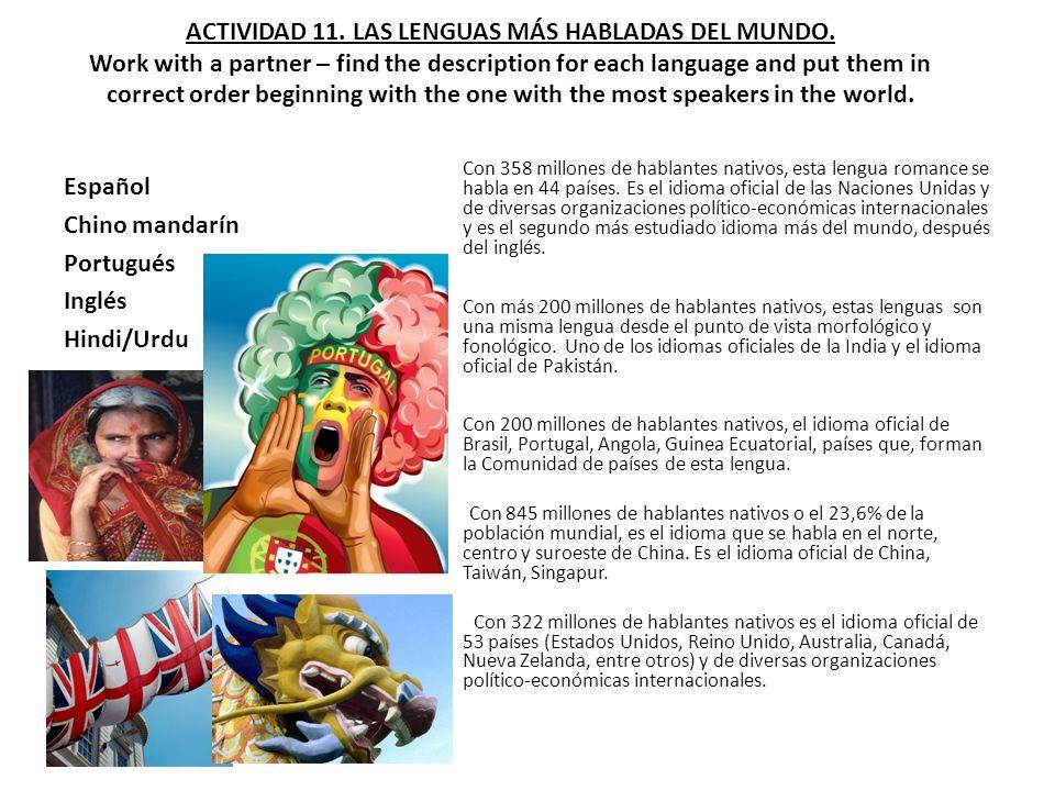 ACTIVIDAD 11.LAS LENGUAS MÁS HABLADAS DEL MUNDO.