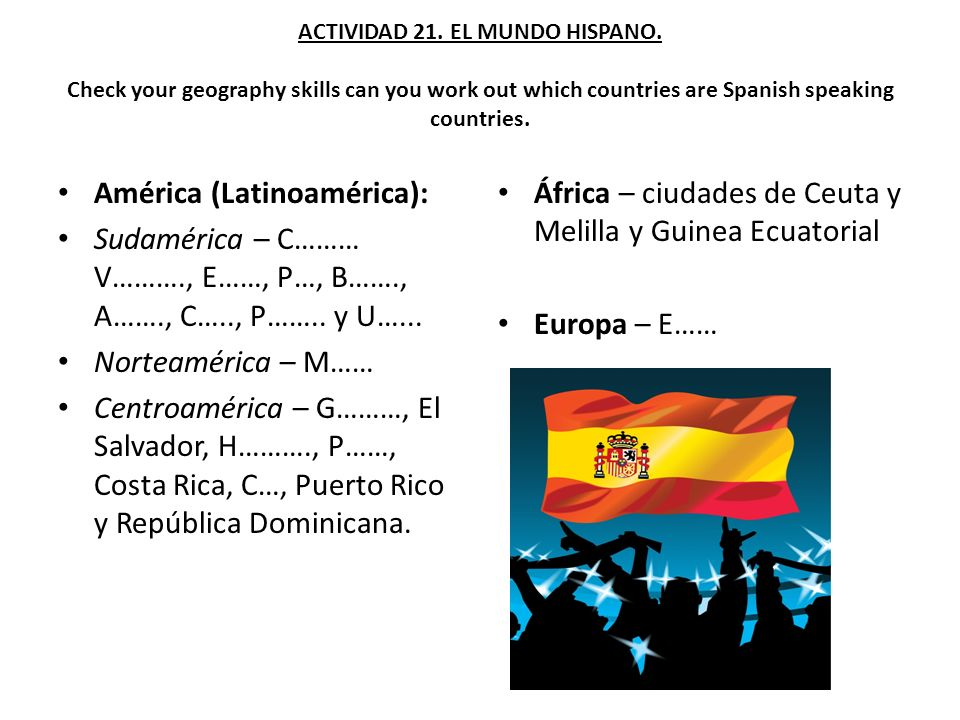 ACTIVIDAD 21. EL MUNDO HISPANO. Check your geography skills can you work out which countries are Spanish speaking countries. América (Latinoamérica):