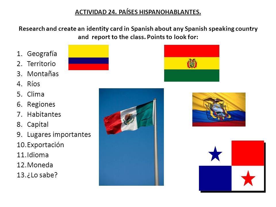 ACTIVIDAD 24. PAÍSES HISPANOHABLANTES. Research and create an identity card in Spanish about any Spanish speaking country and report to the class. Poi