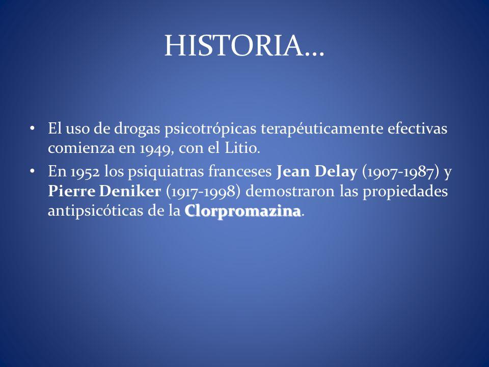 El uso de drogas psicotrópicas terapéuticamente efectivas comienza en 1949, con el Litio. Clorpromazina En 1952 los psiquiatras franceses Jean Delay (