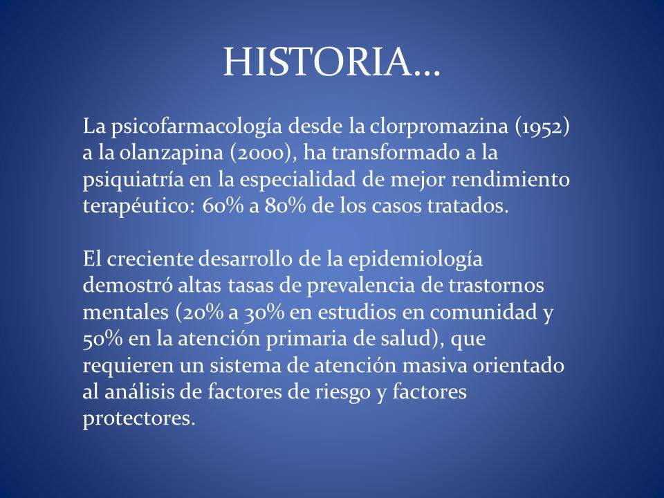 La psicofarmacología desde la clorpromazina (1952) a la olanzapina (2000), ha transformado a la psiquiatría en la especialidad de mejor rendimiento te