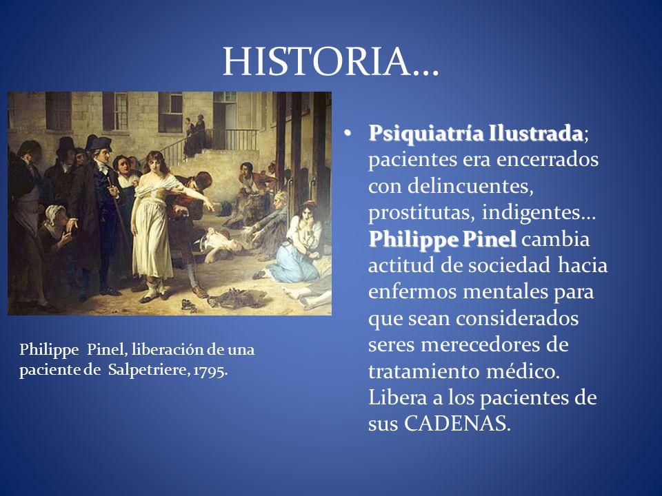 Philippe Pinel, liberación de una paciente de Salpetriere, 1795. HISTORIA… Psiquiatría Ilustrada Philippe Pinel Psiquiatría Ilustrada; pacientes era e