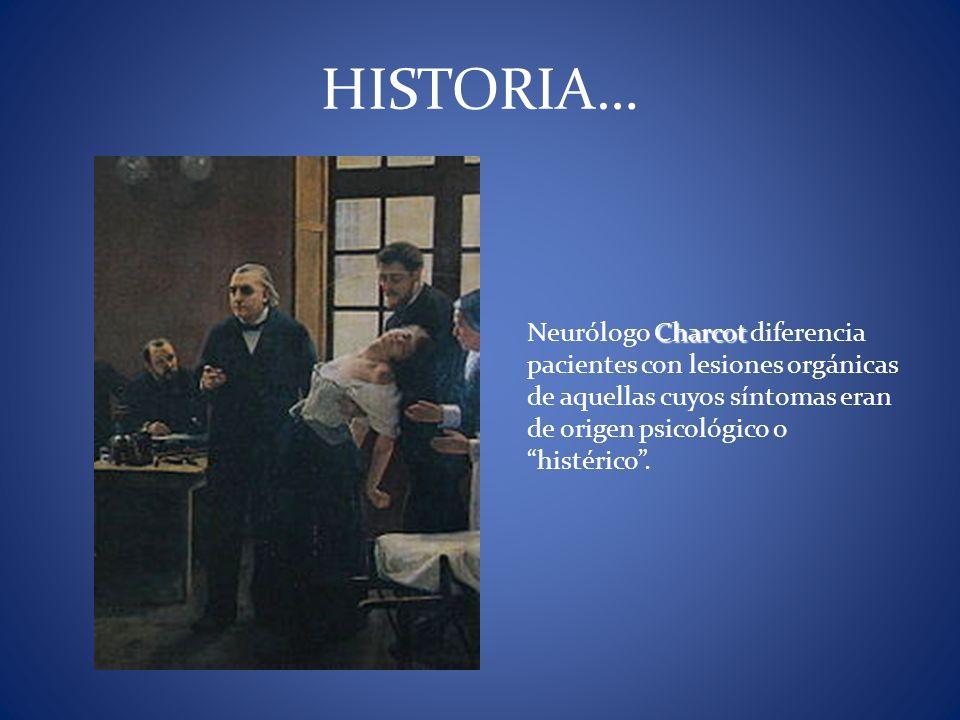 Charcot Neurólogo Charcot diferencia pacientes con lesiones orgánicas de aquellas cuyos síntomas eran de origen psicológico o histérico. HISTORIA…