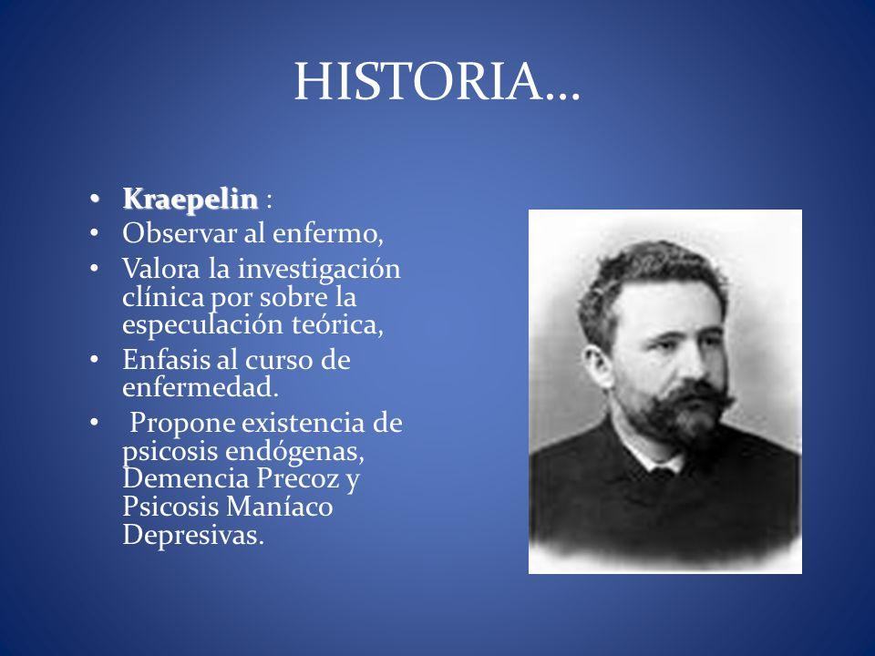 Kraepelin Kraepelin : Observar al enfermo, Valora la investigación clínica por sobre la especulación teórica, Enfasis al curso de enfermedad. Propone