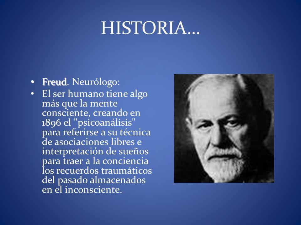Freud Freud. Neurólogo: El ser humano tiene algo más que la mente consciente, creando en 1896 el
