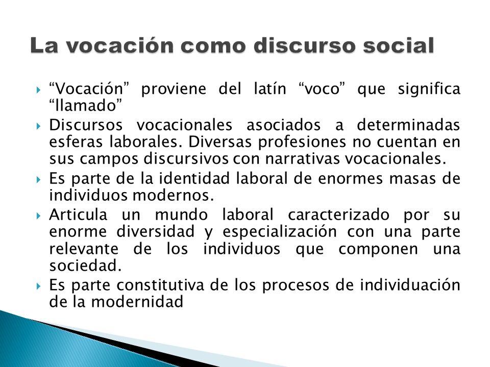 Vocación proviene del latín voco que significa llamado Discursos vocacionales asociados a determinadas esferas laborales. Diversas profesiones no cuen