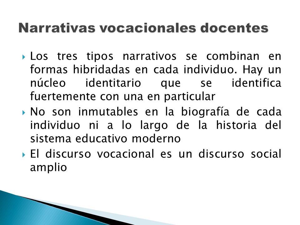 Los tres tipos narrativos se combinan en formas hibridadas en cada individuo. Hay un núcleo identitario que se identifica fuertemente con una en parti
