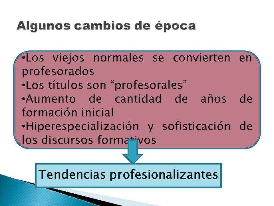 Los viejos normales se convierten en profesorados Los títulos son profesorales Aumento de cantidad de años de formación inicial Hiperespecialización y