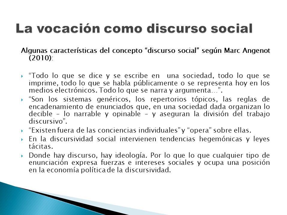 Algunas características del concepto discurso social según Marc Angenot (2010): Todo lo que se dice y se escribe en una sociedad, todo lo que se impri