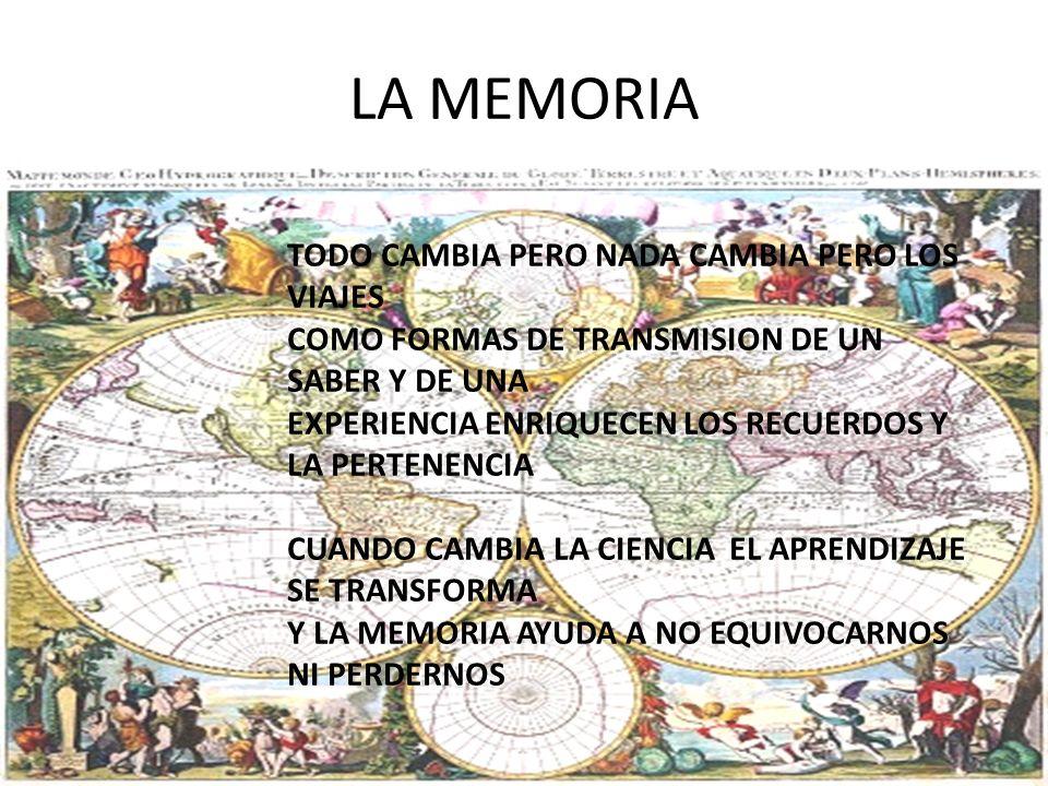 LA MEMORIA TODO CAMBIA PERO NADA CAMBIA PERO LOS VIAJES COMO FORMAS DE TRANSMISION DE UN SABER Y DE UNA EXPERIENCIA ENRIQUECEN LOS RECUERDOS Y LA PERTENENCIA CUANDO CAMBIA LA CIENCIA EL APRENDIZAJE SE TRANSFORMA Y LA MEMORIA AYUDA A NO EQUIVOCARNOS NI PERDERNOS
