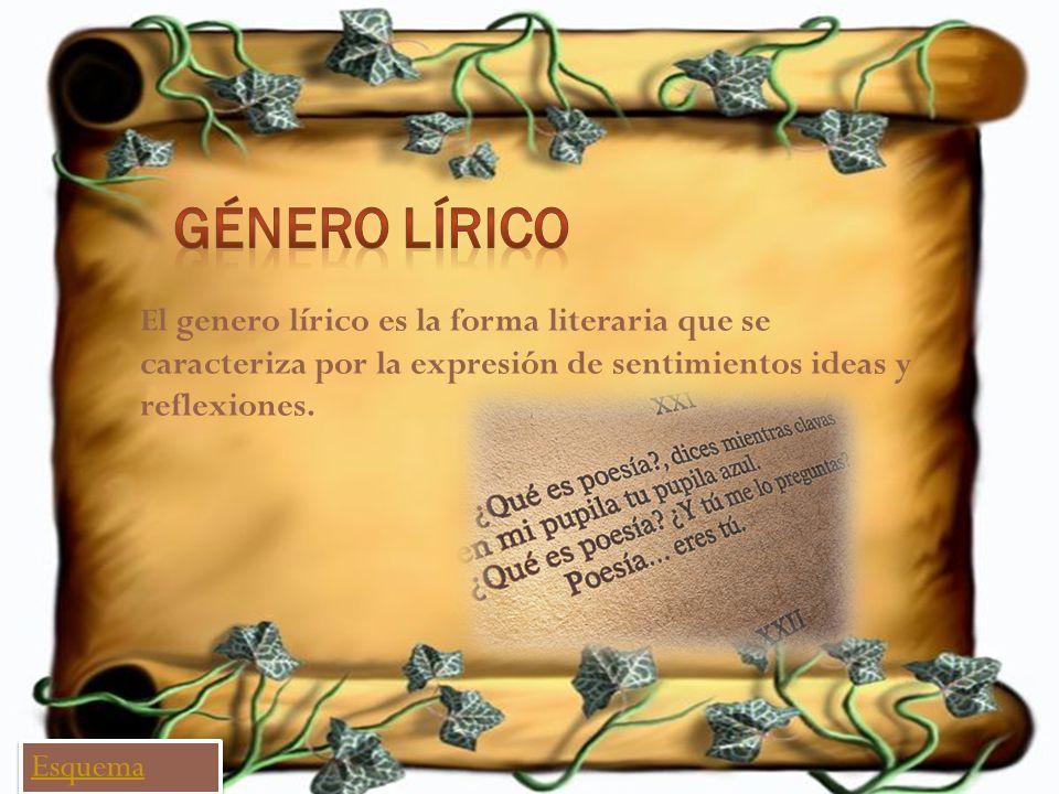 El genero lírico es la forma literaria que se caracteriza por la expresión de sentimientos ideas y reflexiones. Esquema