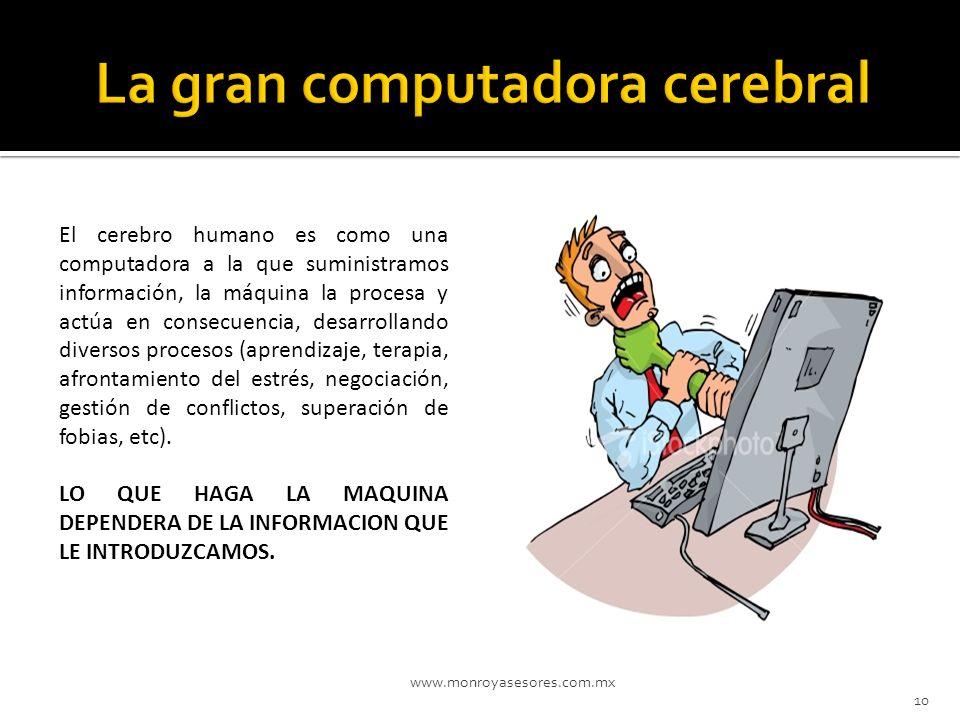 www.monroyasesores.com.mx 10 El cerebro humano es como una computadora a la que suministramos información, la máquina la procesa y actúa en consecuenc