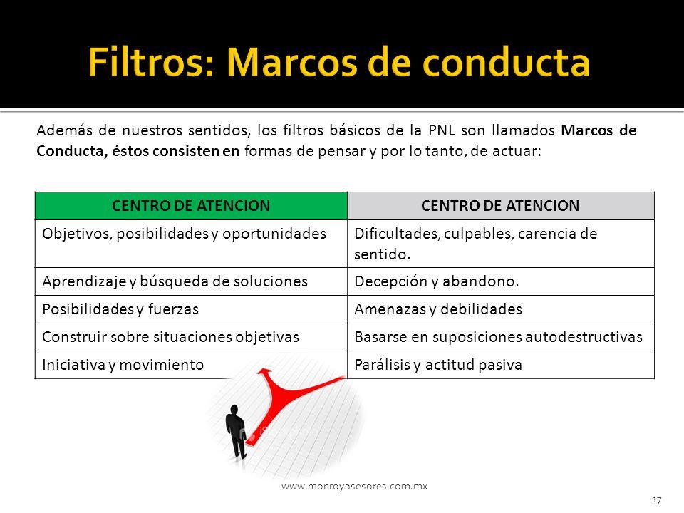 www.monroyasesores.com.mx 17 Además de nuestros sentidos, los filtros básicos de la PNL son llamados Marcos de Conducta, éstos consisten en formas de