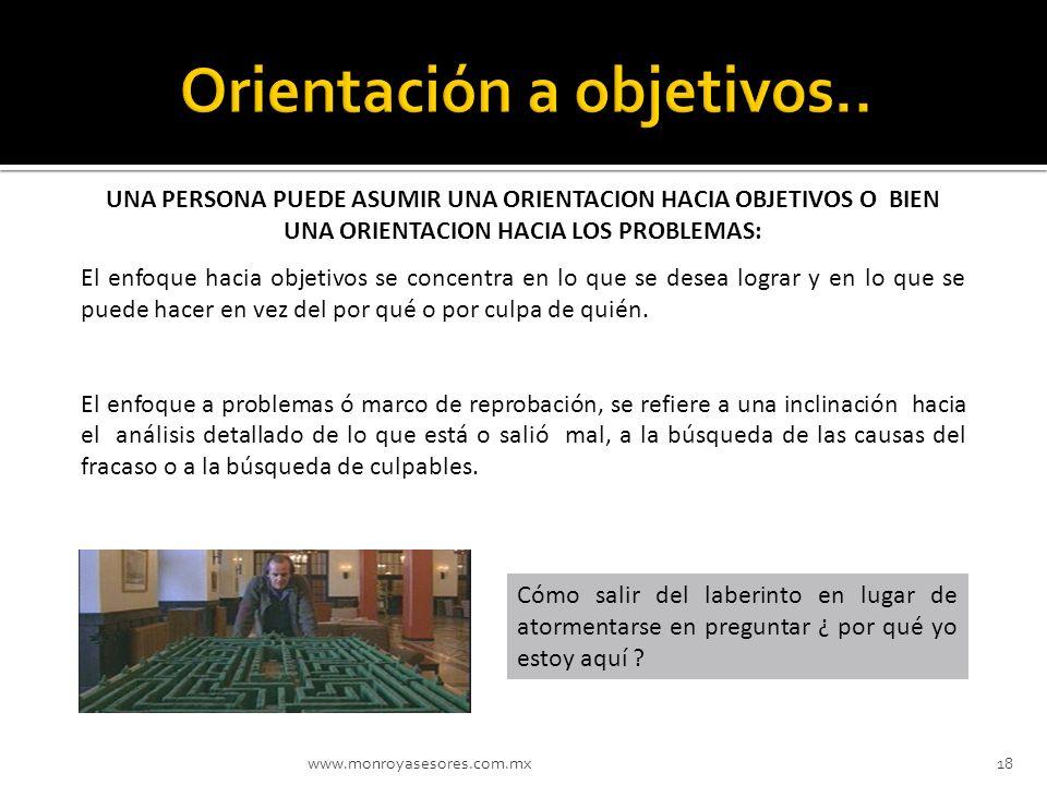 www.monroyasesores.com.mx18 UNA PERSONA PUEDE ASUMIR UNA ORIENTACION HACIA OBJETIVOS O BIEN UNA ORIENTACION HACIA LOS PROBLEMAS: El enfoque hacia obje