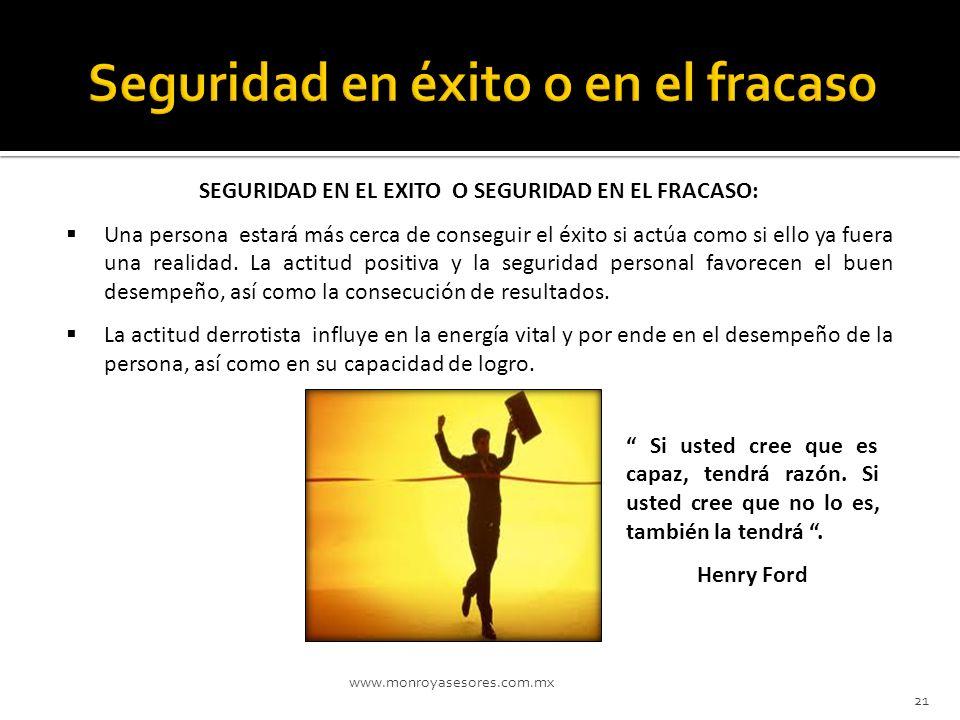 www.monroyasesores.com.mx 21 SEGURIDAD EN EL EXITO O SEGURIDAD EN EL FRACASO: Una persona estará más cerca de conseguir el éxito si actúa como si ello