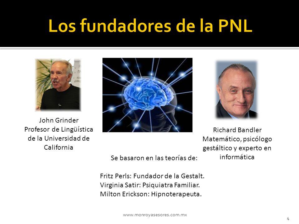4 John Grinder Profesor de Lingüística de la Universidad de California Richard Bandler Matemático, psicólogo gestáltico y experto en informática Se ba