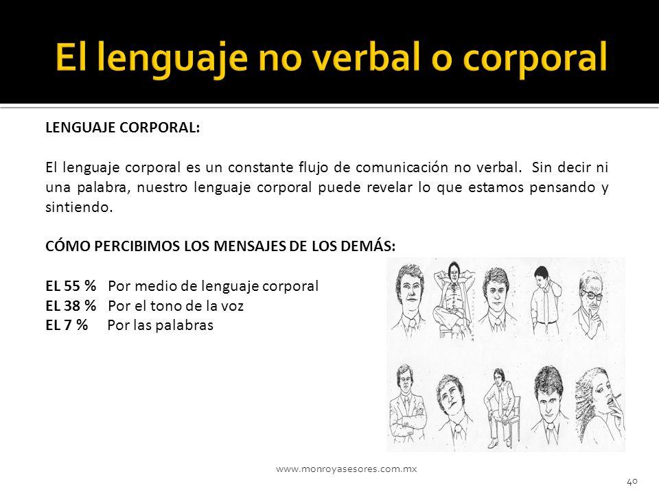 www.monroyasesores.com.mx 40 LENGUAJE CORPORAL: El lenguaje corporal es un constante flujo de comunicación no verbal. Sin decir ni una palabra, nuestr