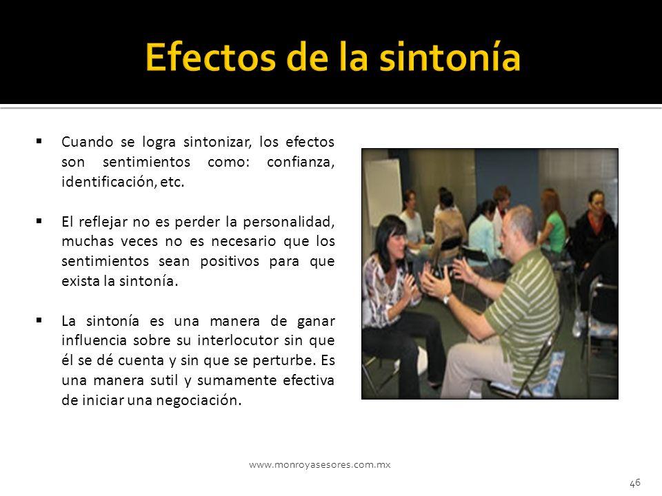 www.monroyasesores.com.mx 46 Cuando se logra sintonizar, los efectos son sentimientos como: confianza, identificación, etc. El reflejar no es perder l