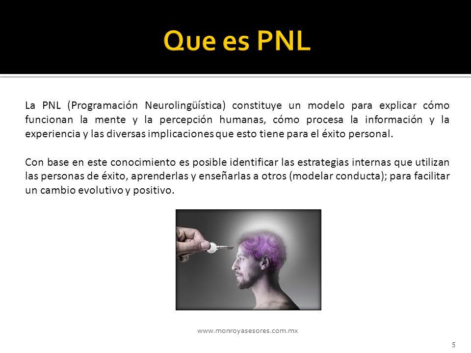 www.monroyasesores.com.mx 5 La PNL (Programación Neurolingüística) constituye un modelo para explicar cómo funcionan la mente y la percepción humanas,