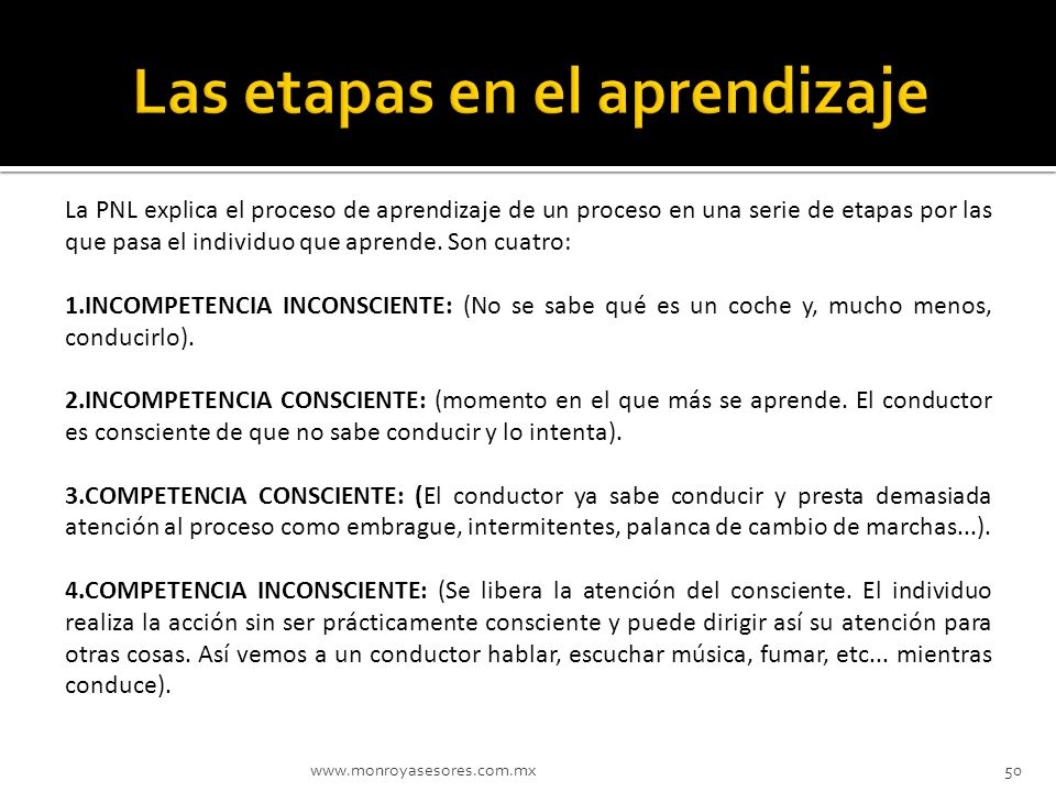 www.monroyasesores.com.mx50 La PNL explica el proceso de aprendizaje de un proceso en una serie de etapas por las que pasa el individuo que aprende. S