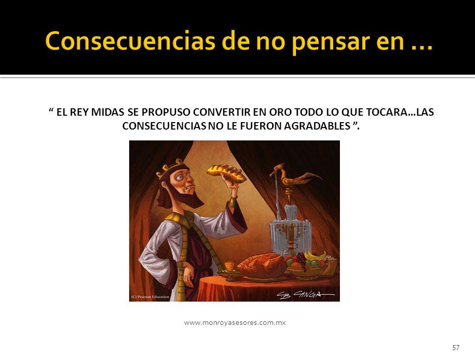 www.monroyasesores.com.mx 57 EL REY MIDAS SE PROPUSO CONVERTIR EN ORO TODO LO QUE TOCARA…LAS CONSECUENCIAS NO LE FUERON AGRADABLES.