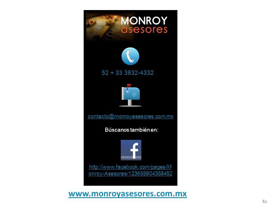 www.monroyasesores.com.mx 62 52 + 33 3832-4332 contacto@monroyasesores.com.mx Búscanos también en: http://www.facebook.com/pages/M onroy-Asesores/1236