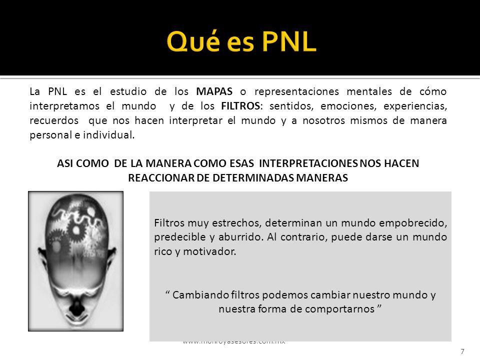 www.monroyasesores.com.mx 7 La PNL es el estudio de los MAPAS o representaciones mentales de cómo interpretamos el mundo y de los FILTROS: sentidos, e