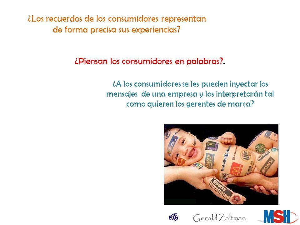 ¿Los recuerdos de los consumidores representan de forma precisa sus experiencias? ¿Piensan los consumidores en palabras?. ¿A los consumidores se les p