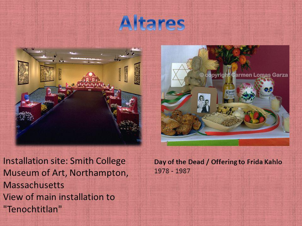 El Trabajo de Carmen Las decoraciones de los altares estan hechos de cortes de papel y cosas que les gustaba a las persona de el altar como frutas, co