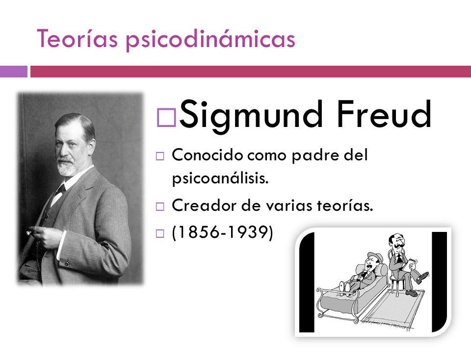 Teorías psicodinámicas Sigmund Freud Conocido como padre del psicoanálisis. Creador de varias teorías. (1856-1939)