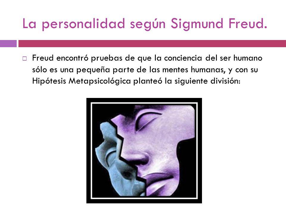 La personalidad según Sigmund Freud. Freud encontró pruebas de que la conciencia del ser humano sólo es una pequeña parte de las mentes humanas, y con