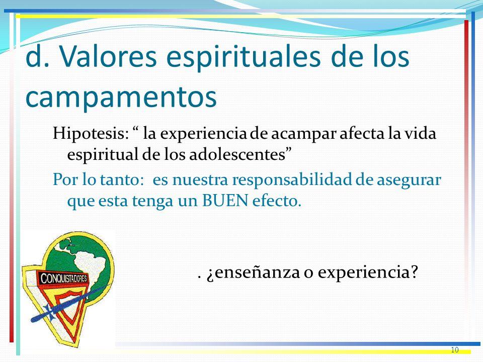 d. Valores espirituales de los campamentos Hipotesis: la experiencia de acampar afecta la vida espiritual de los adolescentes Por lo tanto: es nuestra